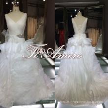 Ruffle fleur longueur du sol V-neck Voir le retour 2015 robes de mariée / Cinderella hot sale 2015 Marry you Bride Robes de mariée