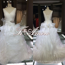 Ruffle flower floor-length V-neck Veja de volta 2015 vestidos de casamento / Cinderella hot sale 2015 Marry you Bride Wedding dresses