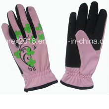 Black Synthetic Leather Palm Lady Garden Work Gloves