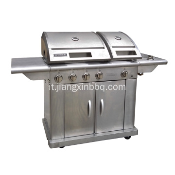 Barbecue a gas naturale a 5 bruciatori in acciaio inox