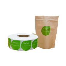Etiqueta adhesiva biodegradable compostable diseño personalizado