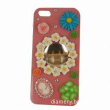 Crystal case for iPhone, with flowers and big diamond cover the back of case center