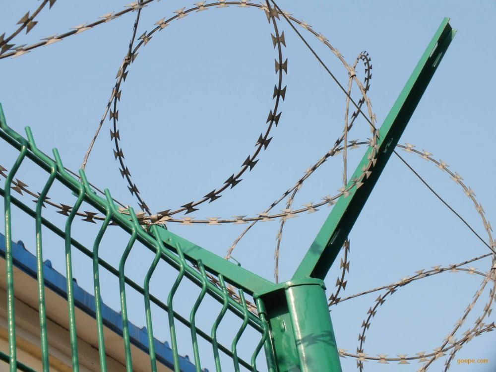 Razor barbed wire airport fence