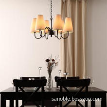 Black Iron Pendant Lamp Modern Lamp With White Fabric Cover
