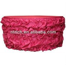 Table de satin plissé jupe, jupe de table ébouriffé, jupe de table de mariage