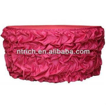 Shirred satin table skirt, ruffled table skirt, wedding table skirt