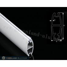 Rail inférieur ovale en aluminium blanc enduit de poudre