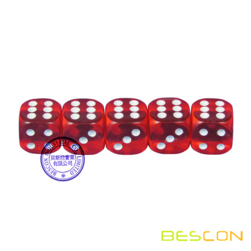"Dé de casino transparent rouge rond de 3/4 ""(19 mm)"
