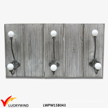 Farm Shabby Gray Wall Wooden Coat Rack Hooks