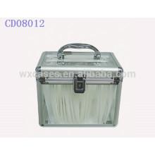 sostenedor de cd de alta calidad de 120 CD discos aluminio con claro panel de acrílico como paredes por mayor
