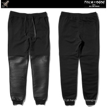 Folding Faux Leather Pants calças de couro Patchwork Jogger