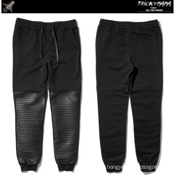 Folding Faux Leather Pants Leather Patchwork Jogger Pants