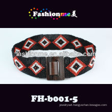 diamond pattern combine with wooden button classics style hand-woven belts