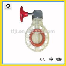 Válvula de mariposa de la oblea de la rueda de la mano de UPVC / PVC de la serie CWX