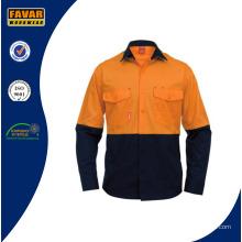 Algodón de manga larga bicolor trabajo camisa para hombre