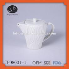Pot de té de porcelana blanca en relieve, pote de té de cerámica, nueva caldera de agua de diseño de cerámica