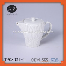 Potenciômetro de chá de porcelana branca gravada, potenciômetro de chá cerâmico, chaleira de água cerâmica nova do projeto