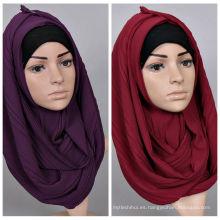 2017 de alta calidad de color sólido árabe mujeres llanura arruga burbuja gasa musulmán hijab bufanda chal