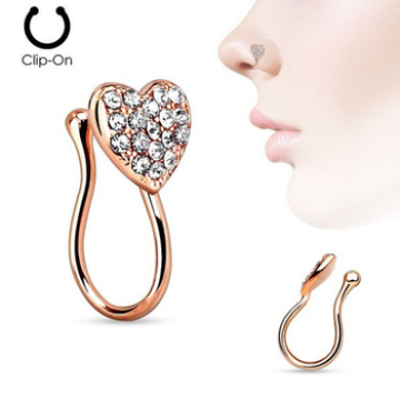 Heart With Gems Clip On Non Piercing Nose Clip Fake Septum Piercing