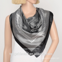 white and black polyester satin square scarf with polk dot design