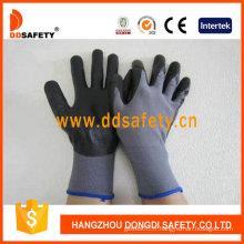 Doublure en nylon gris de calibre 13. Gant noir en nitrile ultra-mince en mousse (DPU415)