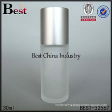 30ml frosted roll on bottle with glass roller ball and silver cap, high quality empty roll on bottle, free sample, printing