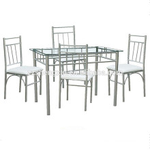 Modern Metal Tempered Glass 1+4 Dining Sets