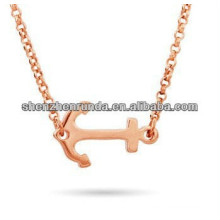 Stainless Steel Pendant Sideways stainless steel Anchor Rose Gold plating Necklace Manufacture