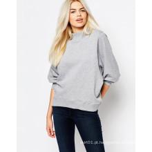 Alto pescoço mais tamanho camisola das mulheres hoodie