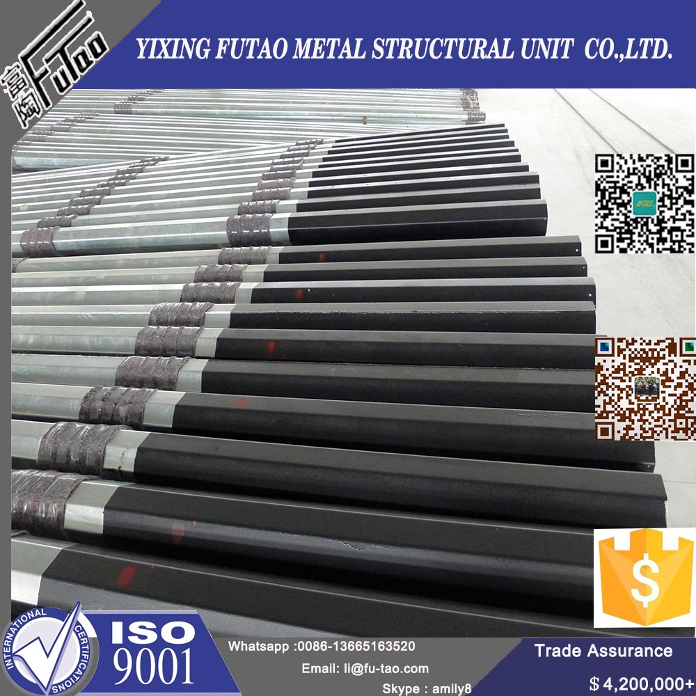 11M 12M Steel Power Poles With Galvanized