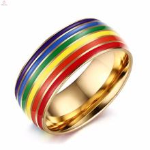 Joyas de anillo de acero inoxidable gay colorido al por mayor de mujeres