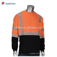 Vente en gros ANSI Classe 3 T-shirt de sécurité réfléchissant à manches longues haute visibilité col rond Orange chemises noir fond avant
