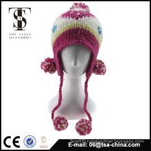 100% acrylic jacquard knitted beanie hat with big pom pom