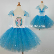 Vente chaude enfants bleu fleurs en mousseline de soie longue robe tutu à la main pour les filles