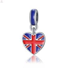 Encantos feitos sob encomenda da bandeira de país do coração do bracelete de DIY dos acessórios da jóia da liga