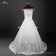 RSW759 Off Shoulder Satin Bordado Designs para vestidos de casamento vermelho e branco