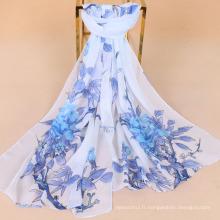 Nouvelle arrivée fleurs et oiseaux impression écharpe en mousseline de soie imitation écharpe en soie lady protection solaire écharpe châle
