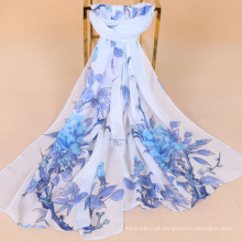 Nova chegada flores e pássaros impressão chiffon cachecol imitação lenço de seda senhora proteção solar lenço xale