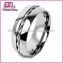 Nuevos Productos 2013 Venta al por mayor joyería Moda baratos hombres de cuerda Twist Inlay centro de titanio anillo de boda
