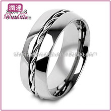 Novos produtos 2013 Wholesale jóias moda corda masculina baratos Twist Inlay Center Titanium Wedding Ring