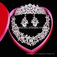 Flower Shape Shine Ensembles de bijoux en cristal pour vêtements de mariage (collier + boucle d'oreille + couronne) F39836 Colliers