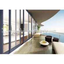 Balcon méditerranéen Verre en aluminium Grande porte coulissante, étanche, sans rouille et portes de résistance à la corrosion