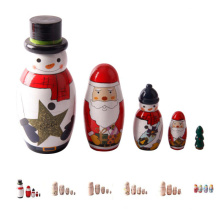 FQ marca matryoshka apilamiento babushka muñecas de madera rusa de la navidad