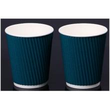 Copas de papel de pared de ondulación azul con tapa