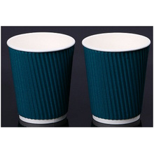 Blue Ripple Wall Paper Cups con tapa