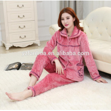 High Quality Embossed Fleece Warm Women's Pyjama suit wholesale