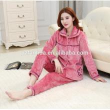 High Quality Embossed Fleece Warm Women's Pyjama suit wholesale