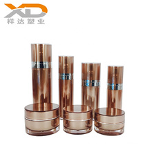Wholesale full size cylinder round customized painting cosmetic acrylic bottle with lotion pump for personal care
