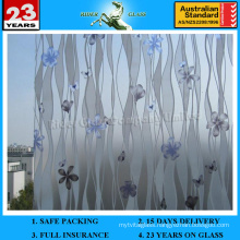 4-12mm Satin Etched Glass with AS/NZS2208: 1996