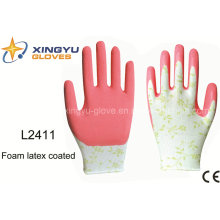 13G Printing Polyester Shell Foam Latex Coated Safety Work Glove (L2411)